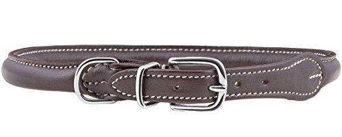 Knuffelwuff Hundehalsband Halsband Hund Leder Rundhalsband Hoopa 33-37cm Braun