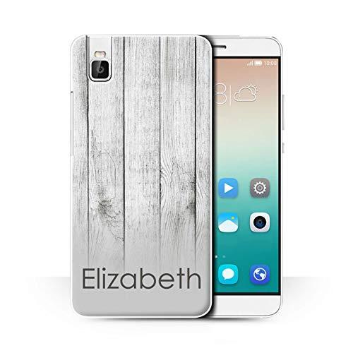 eSwish Personalisiert Individuell Holzmaserung Effekt Hülle für Huawei Honor 7i/ShotX/Weißes Treibholz Design/Initiale/Name/Text Schutzhülle/Case/Etui