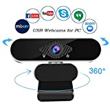 Full HD 1080p Webcam, Webcam with Microphone PC Streaming Computer Web Cam for Pc Laptop Desktop Rotation Webcam with Microphone Web Camera Highly Compatible
