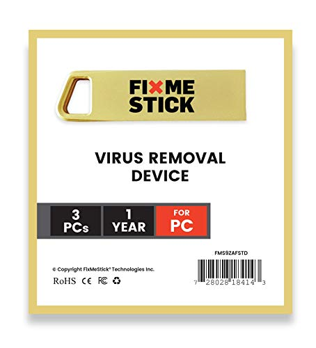 FixMeStick Gold Computer Virus Removal Stick for Windows PCs - Unlimited Use on Up to 3 Laptops or Desktops for 1 Year - Works with Your Antivirus