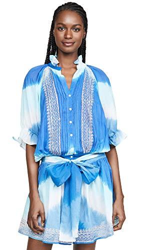 Juliet Dunn Women's Tie Dye Blouson Cover Up Dress, Blue/Turquoise/Silver, 3
