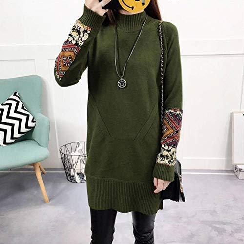 Justtime Pullover en trui voor dames, herfst en winter, Koreaanse stijl, modieus, lang, effen, voor lente, dames, truien Talla única Groene Oefening
