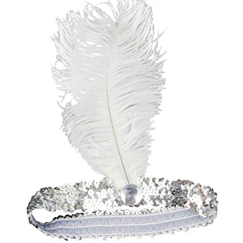 Gemini_mall Fascia da donna Charleston con piume anni '20 Great Gatsby Flapper copricapo per travestimento (argento)
