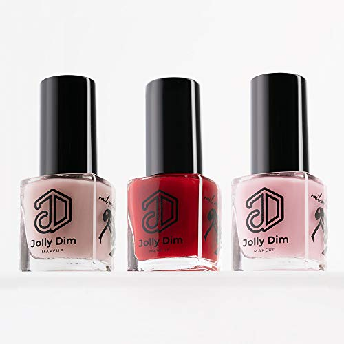 Jolly Dim Makeup Nail Polish Set Classic, set smalti per unghie, 3 tonalità Nail Polish Taffy 3, Nail Polish Flamingo 1, Nail Polish Carmine 5