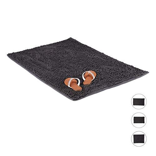 Relaxdays Badmat microvezel Shaggy, zachte en waterabsorberende XL badmat, antislip, 70 x 120 cm, grijs