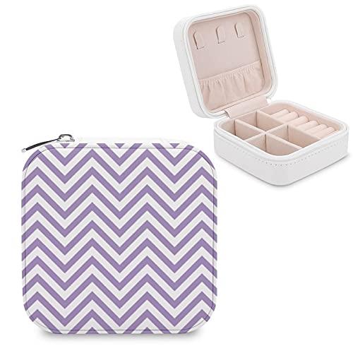 Organizador de joyas de viaje para niñas, mujeres, morado y blanco, caja de almacenamiento portátil para anillos, pendientes, collares