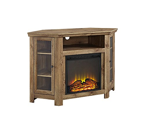 Walker Edison 48' Corner Fireplace TV Stand in Barnwood