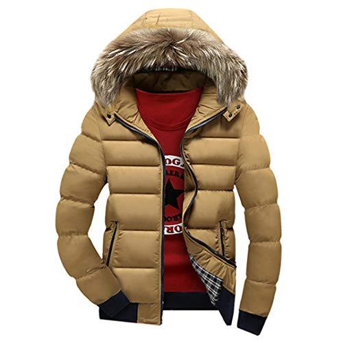 Cappotti Spessi da Uomo Invernali con Cappuccio in Piumino Parka Caldo Giacche Moda Uomo Soprabito Khaki S