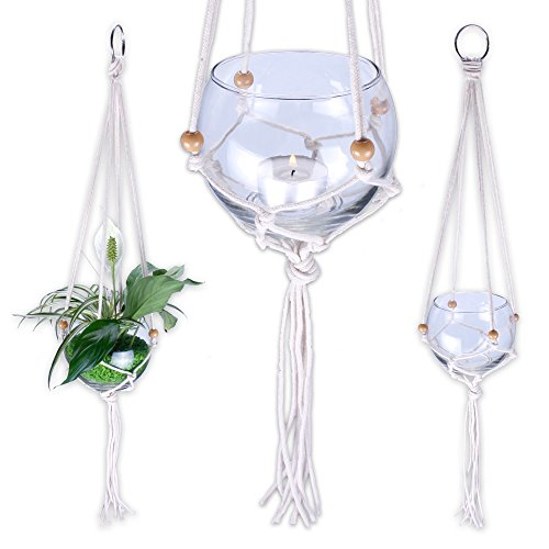 Glas mit Makramee Aufhängung geeignet als Windlicht oder Blumenampel 3erSET