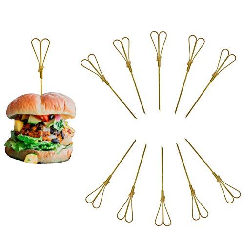 Naturbengel® Pinchos de madera de bambú con forma de corazón (15 cm) I Pinchos de cóctel para aperitivos (100 unidades) I Decoración de boda I con algodón & sin plástico
