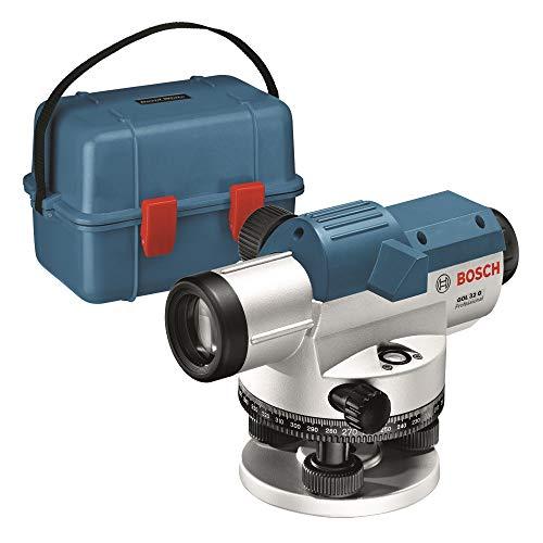 Bosch Professional Optisches Nivelliergerät GOL 32 G (32-fache Vergrößerung, Maßeinheit: 400 Gon, Arbeitsbereich: bis zu 120 m, im Transportkoffer)