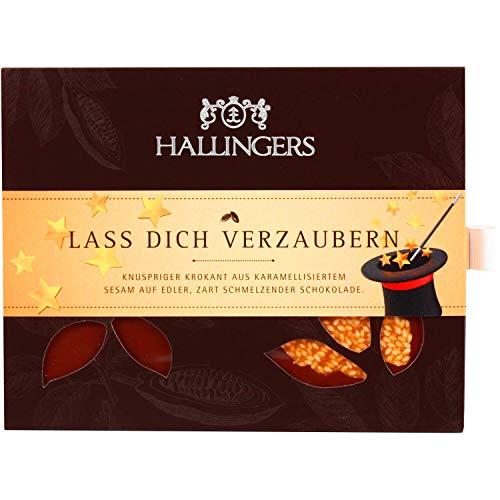 Hallingers Vollmilch-Schokolade mit Krokant hand-geschöpft (90g) - Lass Dich verzaubern (Tafel-Karton) - zu Liebe & Hochzeit