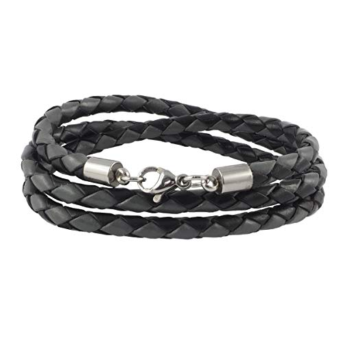 König Design Lederkette Lederband Leder-Armband 4 mm Herren Halskette Schwarz Grau 40 cm lang mit Karabiner-Verschluss Silber geflochten