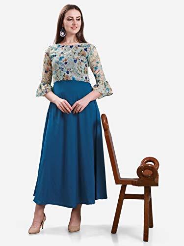 Fashion2wear Women's Poly Crepe Flower Print Long Maxi Dress (Blue, Large)