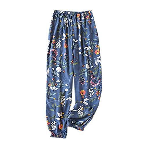 WJJKSLAOQ Pijamas De Mujer con Estampado De RayóN Viscosa De Verano Pantalones De Cintura Y Tobillo EláSticos Pijamas Pantalones De Cintura De Ropa Informal para Mujer