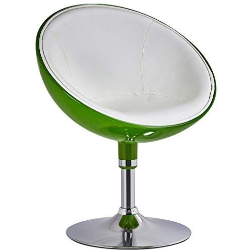 Duhome Retro Vanity Lounge Chair Swivel PU Leather Seat + ABS 2 Tone (Green+White)