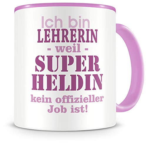 Samunshi® Ich bin Lehrerin Tasse Beruf Geschenk Kaffeetasse Teetasse Kaffeepott Kaffeebecher Becher in 2 Größe und 372 Farben (Lehrerin 300ml rosa/rosa)