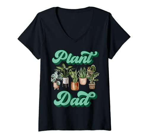 Donna Amanti Piante Finte da Interno Uomo Giardiniere Plant Dad Maglietta con Collo a V