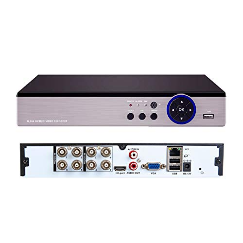 Xenocam 8CH 5MP Full HD Hybrid AHD/TVI/CVI/Analog/Onvif IP DVR H.265 CCTV Video Recorder Motion Detection P2P Remote Phone Monitoring for Home Security Surveillance System Camera (NO HDD)