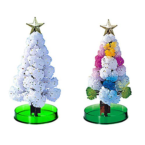 Futomcop 2 PCS Magic Growing Crystal Christmas Tree Presents Novelty Kit for Kids Funny Educational and Party Toys (White)