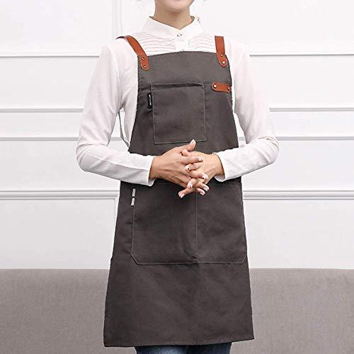 YXDZ Mode Küchenschürze Wasserdicht Und Ölbeständig Frauen Einkaufszentrum Supermarkt Café Schnell Restaurant Arbeitskleidung Kochen Nach Hause Lätzchen Dunkelgrau