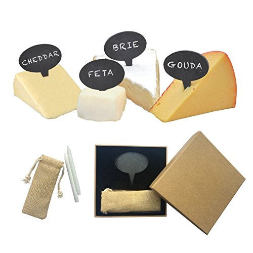 Bepont Oval Slate chalkboard Cheese Marker & Label - 4 Pieces With Chalk In A Gift Box