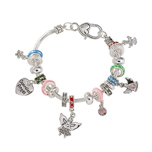 Madison Tyler Religious Prayer Bracelet for Women Religious Jewelry Gift for Girls Christian Gift -Antique Silver Plated/Blue/Green/Pink Guardian Angel Stretch Charm Bracelet