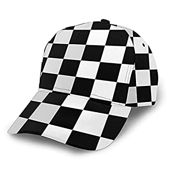 Checkerboard Hat Baseball Cap for Women Men Fashionable Black and White Adjustable Funny Dad Hat Washed Low Profile Polo Style for Summer Sun Protection Runing Hiking