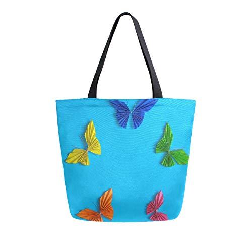 Irud Canvas Tote Bag Bunte Papier-Schmetterling Casual Schultertasche Groß für Frauen Handtasche Einkäufe Baumwolltasche Einkaufstasche Wiederverwendbare Handtasche für Draußen