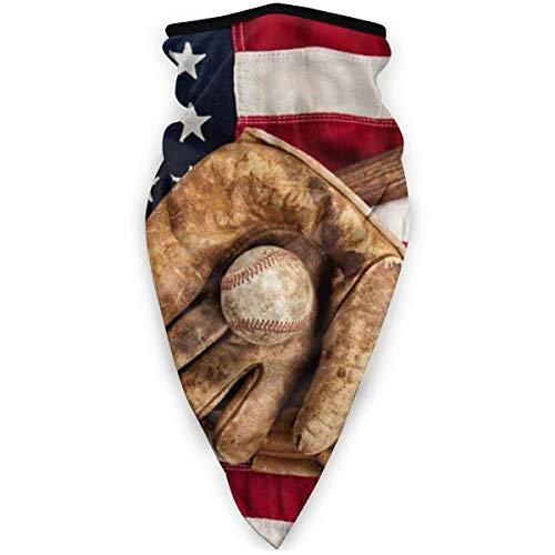 OUY Vintage Baseball Liga Ausrüstung mit USA Amerikanische Flagge Atmungsaktiver Nackenschutz Beinschutz Gesichtsmaske Gesichtsschal Turban Sturmhaube Hut Schal Herren Damen Gesichtsmaske