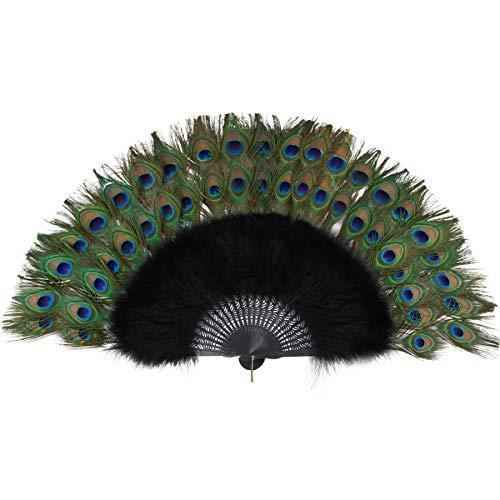 ArtiDeco Abanico plegable de mano con plumas de pavo real y marabú...