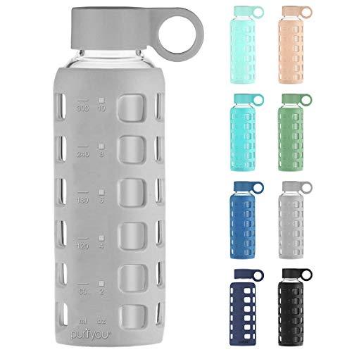 purifyou Botella de Agua de Cristal con Funda de Silicona y Tapa de Acero Inoxidable - 12oz, Gris Pastel