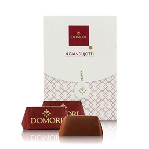 Domori 4 Bombones De Chocolate Gianduia, Chocolatinas Italianas Gianduiotti - 30 Gramos