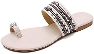 Summer Shoes Women Sandals Casual Ladies Beach Slippers Flat Slip-on Summer Female Footwear Plus Size 42 Elegant beautiful slippers (Color : Apricot, Shoe Size : 10)