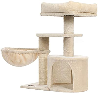 FEANDREA Cat Tree, Small Cat Tower,Cat Condo,Kitten Activity Center with Scratching Post, Basket, Cave, Beige UPCT059M01