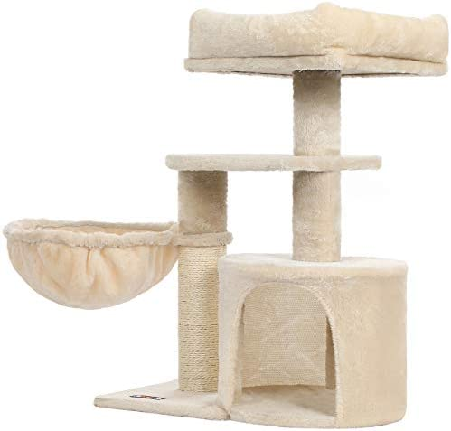 FEANDREA Cat Tree Small Cat Tower Cat Condo Kitten Activity Center with Scratching Post Basket product image