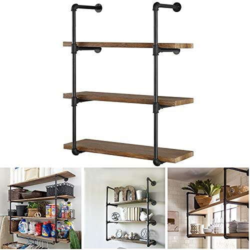 Estantería industrial para pared con estantes flotantes rústicos de hierro para pared DIY estanterías para el hogar, la cocina y la...