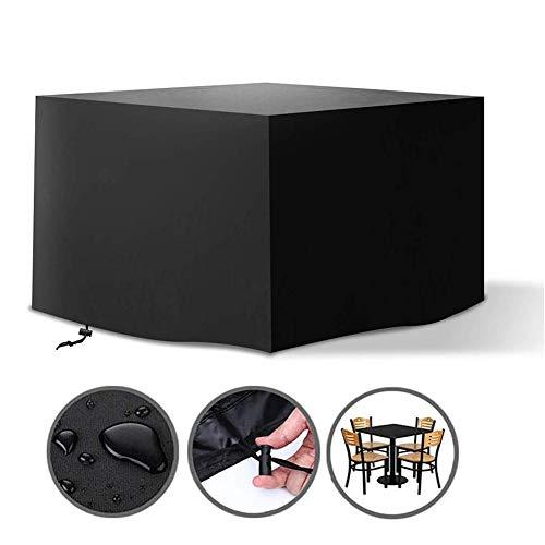 Housse de Protection Table Jardin Nappe Rotin Cube Set Coupe-Vent À Toute Épreuve Tissu Oxford Couverture Patio Extérieur, 6 Tailles, Personnalisable ALGFree (Color : Noir, Size : 308x308x98cm)