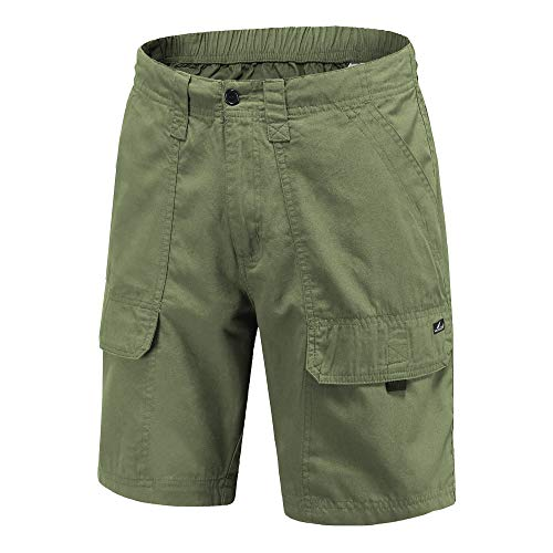 VAYAGER Men's Cargo Shorts 100% Cotton Lightweight Multi Pocket Casual Outdoor Hiking Shorts (Army Green, 3X-Large, 3X_l)