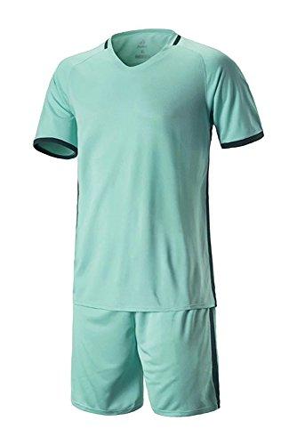 XFentech Hommes Garçon 2 Pièces Mode Manche Courte Vêtements de Football Ensemble Maillot et Short Sportswear, Vert, EU XL=Tag 2XL, Hauteur:175-180cm