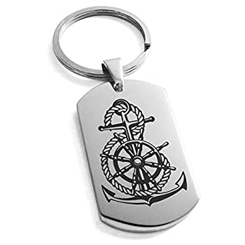 Tioneer Stainless Steel Nautical Anchor Ship Helm Wheel Dog Tag Keychain Keyring