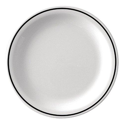 Kristallon Dp984 Noir Band Assiette en mélamine, Blanc (lot de 12)
