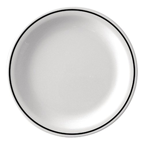 Kristallon Dp984 Noir Band Assiette en mélamine, Blanc (lot de 12)