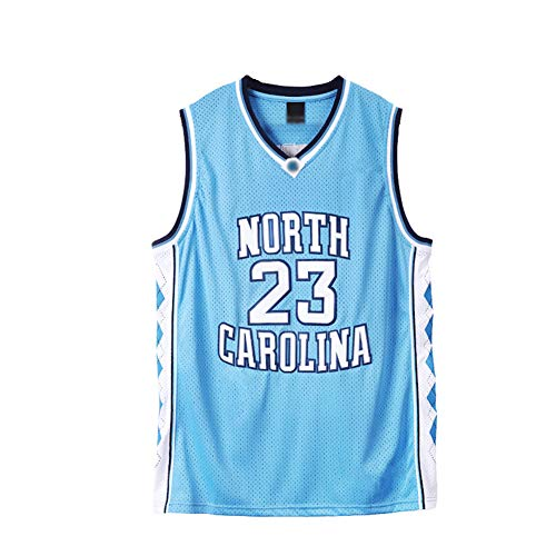 # 23 Michael Jordan Chicago Bulls University Edition North Carolina Camiseta de Baloncesto Bordada, Malla Transpirable, Unisex sin Mangas Camiseta Deportiva de secad Blue-XXL