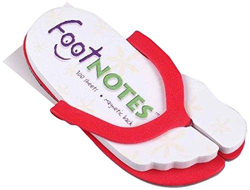 Footnotes - Rot: FlipFlop mit 100 Footnotes zum Abreissen, magnetische Sohle
