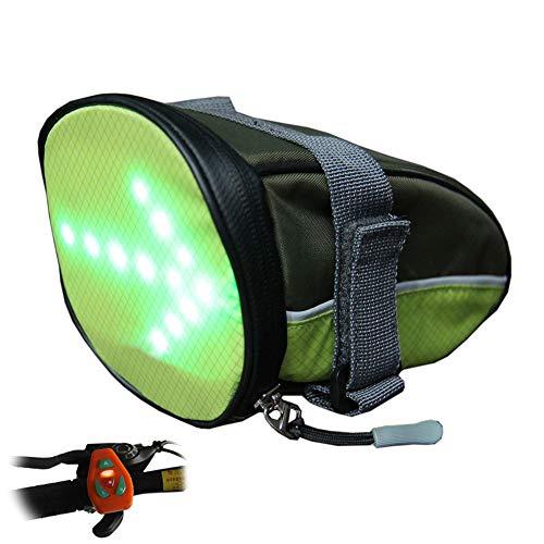 AK-BAG Fahrrad Satteltaschen Mit LED Drahtlose Fernbedienung Sicherheit Blinker Licht, Mountainbike Outdoor Wasserdicht Sportrucksack Für Mountainbike, Rennrad Und MTB Und So Weiter,Yellow