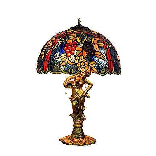 HHJJ Ceiling Light Lamp 43CM Retro Creative Stained Glass Living Room Dining Room Bedroom Bedside Table Lamp Blue Grape Light Fixture LAMP-4908Y4J4R