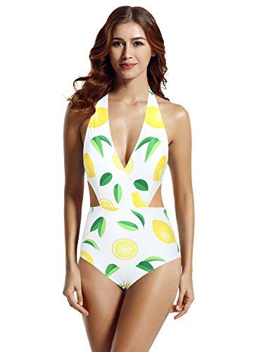 zeraca Women's Plus Size Surplice Neckline High Waisted Halter One Piece Monokini Swimsuit (Lemon, X-Large / 18)