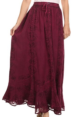 Sakkas SK16319 - Jaclyn Adjustable Skirt with Lace Embroidered Trim and Detailed Embroidery - Fuchsia - OSP