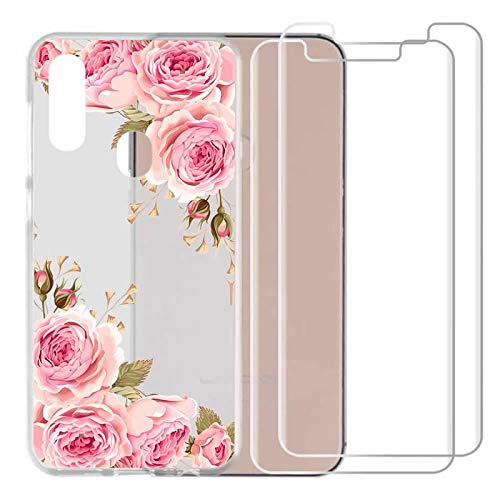 chenlingy for UMI UMIDIGI A3 PRO/A3 Case with 2 Pack Glass Screen Protector Phone Case for Men Women Girls Soft TPU with Protective Bumper Cover Case for UMI UMIDIGI A3 PRO -Rose